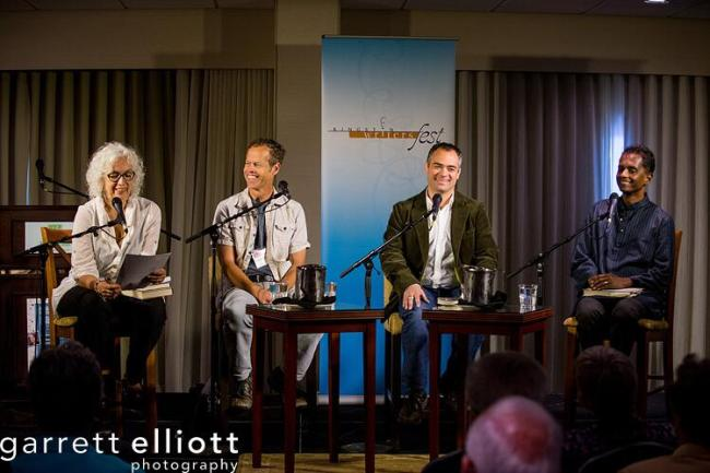 On stage with Merilyn Simonds, Glenn Dixon and Shyam Selvadurai.